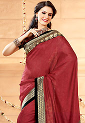 Let your personality articulate for you with this amazing embroidered saree. This maroon banarasi silk saree have beautiful embroidery patch work which is embellished with zari work. Fabulous designed embroidery gives you an ethnic look and increasing your beauty. Matching blouse is available. Slight Color variations are possible due to differing screen and photograph resolutions.