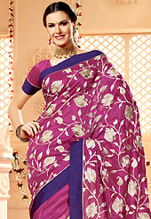 Style and trend will be at the peak of your beauty when you adorn this saree. This deep pink banarasi silk saree have beautiful embroidery patch work which is embellished with resham, zari and stone work. Fabulous designed embroidery gives you an ethnic look and increasing your beauty. Matching blouse is available. Slight Color variations are possible due to differing screen and photograph resolutions.