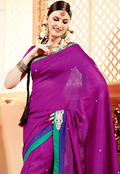 A desire that evokes a sense of belonging with a striking details. This purple faux georgette saree have beautiful embroidery patch work which is embellished with resham, zari, stone and beads work. Fabulous designed embroidery gives you an ethnic look and increasing your beauty. Matching blouse is available. Slight Color variations are possible due to differing screen and photograph resolutions.