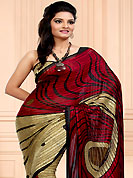 Try out this year top trend, glowing, bold and natural collection. This maroon and beige faux chiffon saree have beautiful abstract, stripe digital print and patch work. Fabulous designed embroidery gives you an ethnic look and increasing your beauty. Matching blouse is available. Slight Color variations are possible due to differing screen and photograph resolutions.