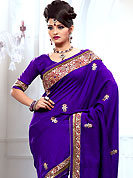 Welcome to the new era of Indian fashion wear. This dark purple bhagalpuri silk saree is nicely designed with embroidered patch work is done with resham, zari and stone work. Saree gives you a singular and dissimilar look. Matching blouse is available. Slight color variations are possible due to differing screen and photograph resolution.