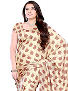 The evolution of style species collection spells pure femininity. This light fawn jacquard saree have beautifully embellished with floral print work. This saree gives you a modern and different look in fabulous style. Matching blouse is available. Slight Color variations are possible due to differing screen and photograph resolutions.