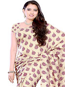 Make a trendy look with this classic embroidered saree. This light fawn jacquard saree have beautifully embellished with floral print work. This saree gives you a modern and different look in fabulous style. Matching blouse is available. Slight Color variations are possible due to differing screen and photograph resolutions.