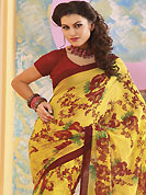 Printed sarees are the best choice for a girl to enhance her feminine look. This yellow and red faux georgette saree is nicely designed with floral and geometric print work. Saree gives you a singular and dissimilar look. Matching red blouse is available. Slight color variations are possible due to differing screen and photograph resolution.