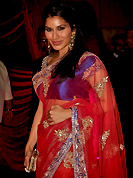 Try out this year top trend, glowing, bold and natural collection. This bollywood style red net saree is nicely designed with embroidered and patch border work is done with resham, zari and sequins work. Saree gives you a singular and dissimilar look. Contrasting royal blue blouse is available. Slight color variations are possible due to differing screen and photograph resolution.
