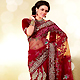 Maroon Net Saree with Blouse
