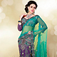 Turquoise and Purple Net Lehenga Style Saree with Blouse