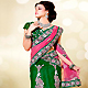 Pink, Green and Off White Net Lehenga Style Saree with Blouse