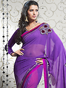A desire that evokes a sense of belonging with a striking details. This purple and off white faux georgette saree have beautiful zigzag, floral print and embroidery patch work which is embellished with resham and zari work. This saree gives you a modern and different look in fabulous style. Matching blouse is available. Slight Color variations are possible due to differing screen and photograph resolutions.