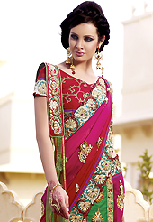The traditional patterns used on this saree maintain the ethnic look. This multicolor faux georgette and net lehenga style saree is nicely designed with heavy embroidered patch work is done with resham, zari, stone, beads and kasab work. Beautiful embroidery patch border on saree make attractive to impress all. This saree gives you a modern and different look in fabulous style. Matching blouse is available with this saree. Slight color variations are possible due to differing screen and photograph resolution.