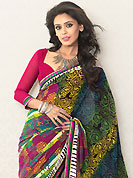 A desire that evokes a sense of belonging with a striking details. This multicolor faux georgette saree is nicely designed with floral, stripe print and graceful patch border. Saree gives you a singular and dissimilar look. Contrasting pink blouse is available. Slight color variations are possible due to differing screen and photograph resolution.