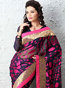 The most beautiful refinements for style and tradition. This black and purple brasso faux georgette saree is nicely designed with self weaving and patch work. Beautiful embroidery work on saree make attractive to impress all. This saree gives you a modern and different look in fabulous style. Matching blouse is available. Slight color variations are possible due to differing screen and photograph resolution.