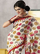 A desire that evokes a sense of belonging with a striking details. This beautiful cream and red art silk saree is nicely designed with geometric print work. Beautiful print work on saree make attractive to impress all. It will enhance your personality and gives you a singular look. Matching blouse is available with this saree. Slight color variations are due to differing screen and photography resolution.