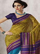 Get ready to sizzle all around you by sparkling saree. This beautiful light olive green and blue art silk saree is nicely designed with abstract, paisley and geometric print work. Beautiful print work on saree make attractive to impress all. It will enhance your personality and gives you a singular look. Matching violet blouse is available with this saree. Slight color variations are due to differing screen and photography resolution.