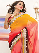 Keep the interest with this designer embroidery saree. This yellow, red and dark brown faux georgette saree is nicely designed with embroidered patch work is done with resham, zari, stone and lace work. Beautiful embroidery work on saree make attractive to impress all. This saree gives you a modern and different look in fabulous style. Matching blouse is available. Slight color variations are possible due to differing screen and photograph resolution.