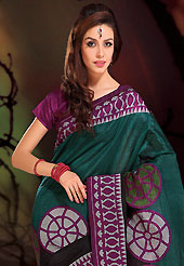 The fascinating beautiful subtly garment with lovely patterns. This beautiful teal green, black and purple art silk saree is nicely designed with geometric print work. Beautiful print work on saree make attractive to impress all. It will enhance your personality and gives you a singular look. Matching blouse is available with this saree. Slight color variations are due to differing screen and photography resolution.
