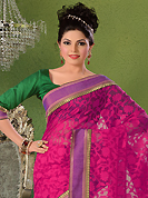 Welcome to the new era of Indian fashion wear. This pink jute silk saree have beautiful embroidery and brocade patch bordered work which is embellished with kasab work. Fabulous designed embroidery gives you an ethnic look and increasing your beauty. Contrasting green blouse is available. Slight Color variations are possible due to differing screen and photograph resolutions.