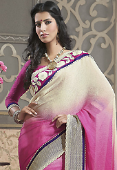 Let your personality articulate for you with this amazing embroidered saree. This cream and pink faux georgette jacquard saree have beautiful embroidery patch work which is embellished with resham, stone, beads and lace work. Fabulous designed embroidery gives you an ethnic look and increasing your beauty. Matching blouse is available. Slight Color variations are possible due to differing screen and photograph resolutions.