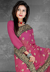Envelope yourself in classic look with this charming saree. This deep pink chiffon saree is nicely designed with embroidered patch work is done with resham, zari and stone work. Saree gives you a singular and dissimilar look. Matching blouse is available. Slight color variations are possible due to differing screen and photograph resolution.