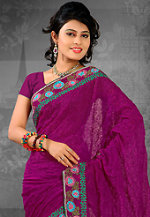 Exquisite combination of color, fabric can be seen here. This dark magenta chiffon saree is nicely designed with embroidered patch work is done with resham work. Saree gives you a singular and dissimilar look. Matching blouse is available. Slight color variations are possible due to differing screen and photograph resolution.