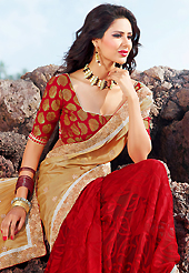 Take a look on the changing fashion of the season. This fawn and red satin and brasso saree is nicely designed with embroidered patch work is done with zari, stone and lace work. Beautiful embroidery work on saree make attractive to impress all. Matching blouse is available. Slight color variations are possible due to differing screen and photograph resolution.