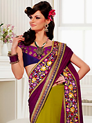 The fascinating beautiful subtly garment with lovely patterns. This purple and light olive green jacquard and georgette saree have beautiful embroidery patch work which is embellished with resham, zari, sequins and lace work. Fabulous designed embroidery gives you an ethnic look and increasing your beauty. Contrasting magenta and purple blouse is available. Slight Color variations are possible due to differing screen and photograph resolutions.