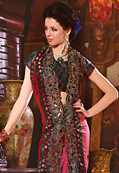 Welcome to the new era of Indian fashion wear. This deep pink faux georgette saree have beautiful embroidery patch work which is embellished with resham, zari, sequins and stone work. Fabulous designed embroidery gives you an ethnic look and increasing your beauty. Contrasting dark teal blue blouse is available. Slight Color variations are possible due to differing screen and photograph resolutions.