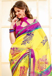 Try out this year top trend, glowing, bold and natural collection. This beautiful yellow super net saree is nicely designed with floral print and graceful patch border. Beautiful print work on saree make attractive to impress all. It will enhance your personality and gives you a singular look. Contrasting dark pink blouse is available with this saree. Slight color variations are due to differing screen and photography resolution.