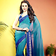Teal Blue and Blue Faux Georgette Saree with Blouse