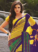 Style and trend will be at the peak of your beauty when you adorn this saree. This beautiful yellow, purple and green faux georgette saree is nicely designed with floral, abstract and stripe print work. Beautiful print work on saree make attractive to impress all. It will enhance your personality and gives you a singular look. Matching blouse is available with this saree. Slight color variations are due to differing screen and photography resolution.