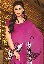 Ultimate collection of embroidered sarees with fabulous style. This beautiful dark pink and off white faux georgette saree is nicely designed with floral, paisley and stripe print work. Beautiful print work on saree make attractive to impress all. It will enhance your personality and gives you a singular look. Matching blouse is available with this saree. Slight color variations are due to differing screen and photography resolution.