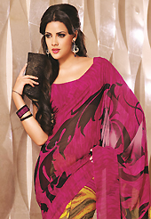 Welcome to the new era of Indian fashion wear. This beautiful dark pink and yellow faux georgette saree is nicely designed with abstract print work. Beautiful print work on saree make attractive to impress all. It will enhance your personality and gives you a singular look. Matching blouse is available with this saree. Slight color variations are due to differing screen and photography resolution.