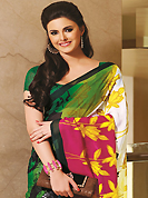 An endearing splash oh colors look gorgeous tridimensional charm. This beautiful green, off white and dark pink faux georgette saree is nicely designed with floral and abstract print work. Beautiful print work on saree make attractive to impress all. It will enhance your personality and gives you a singular look. Matching blouse is available with this saree. Slight color variations are due to differing screen and photography resolution.