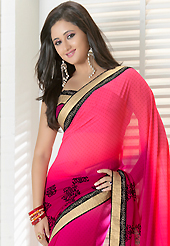 An casual wear perfect is ready to rock you. This shaded pink georgette saree is nicely designed with dots, abstract print and patch bordered work. Beautiful embroidery work on saree make attractive to impress all. This saree gives you a modern and different look in fabulous style. Matching blouse is available. Slight color variations are possible due to differing screen and photograph resolution.