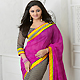 Pink, Black and Off White Georgette Saree with Blouse