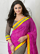 Envelope yourself in classic look with this charming saree. This pink, black and off white georgette saree is nicely designed with paisley, floral print and patch bordered work. Beautiful embroidery work on saree make attractive to impress all. This saree gives you a modern and different look in fabulous style. Matching blouse is available. Slight color variations are possible due to differing screen and photograph resolution.
