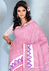 Exquisite combination of color, fabric can be seen here. This beautiful pink and white cotton saree is nicely designed with floral and abstract print work. It will enhance your personality and gives you a singular look. Matching blouse is available with this saree. Slight color variations are due to differing screen and photography resolution.