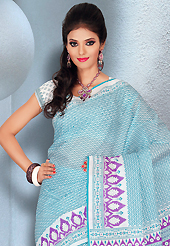 An endearing splash oh colors look gorgeous tridimensional charm. This beautiful sky blue and white cotton saree is nicely designed with geometric and abstract print work. It will enhance your personality and gives you a singular look. Matching blouse is available with this saree. Slight color variations are due to differing screen and photography resolution.