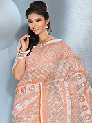 Style and trend will be at the peak of your beauty when you adorn this saree. This beautiful white and light rust cotton saree is nicely designed with floral and abstract print work. It will enhance your personality and gives you a singular look. Matching blouse is available with this saree. Slight color variations are due to differing screen and photography resolution.