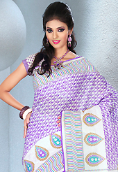 Welcome to the new era of Indian fashion wear. This beautiful purple and off white cotton saree is nicely designed with floral and abstract print work. It will enhance your personality and gives you a singular look. Matching blouse is available with this saree. Slight color variations are due to differing screen and photography resolution.