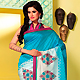 Shaded Blue and Off White Art Silk Saree with Blouse
