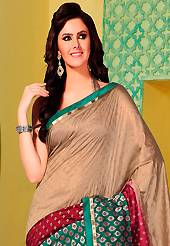 Keep the interest with this embroidered saree. This fawn, turquoise green and maroon art silk saree is nicely designed with floral print, self weaving zari, resham and patch bordered work. Beautiful embroidery work on saree make attractive to impress all. This saree gives you a modern and different look in fabulous style. Matching blouse is available. Slight color variations are possible due to differing screen and photograph resolution.