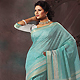 Sky Blue and Off White Cotton Saree with Blouse