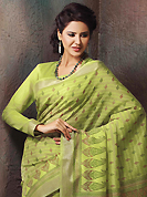 Exquisite combination of color, fabric can be seen here. This beautiful pastel green cotton saree is nicely designed with paisley, abstract, geometric print and self weaving zari work. Beautiful print work on saree make attractive to impress all. It will enhance your personality and gives you a singular look. Matching blouse is available with this saree. Slight color variations are due to differing screen and photography resolution.