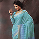 Sky Blue Cotton Saree with Blouse