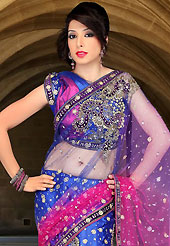 Embroidered sarees are the best choice for a girl to enhance her feminine look. This shaded dark blue and hot pink net lehenga style saree have beautiful embroidery patch work which is embellished with sequins, stone, cutdana and cutbeads work. Fabulous designed embroidery gives you an ethnic look and increasing your beauty. Matching blouse is available. Slight Color variations are possible due to differing screen and photograph resolutions.