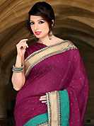 Envelope yourself in classic look with this charming saree. This dark burgundy art silk saree have beautiful embroidery patch work which is embellished with thread, zari and stone work. Fabulous designed embroidery gives you an ethnic look and increasing your beauty. Matching blouse is available. Slight Color variations are possible due to differing screen and photograph resolutions.