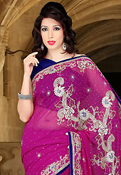 Look stunning rich with dark shades and floral patterns. This deep pink faux georgette saree have beautiful embroidery patch work which is embellished with zari, stone, cutdana and cutbeads work. Fabulous designed embroidery gives you an ethnic look and increasing your beauty. Contrasting dark blue blouse is available. Slight Color variations are possible due to differing screen and photograph resolutions.