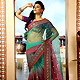 Shaded Green and Maroon Net Saree with Blouse