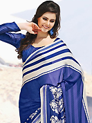 Ultimate collection of embroidered sarees with fabulous style. This beautiful blue and off white faux georgette saree is nicely designed with paisley and stripe print work. Beautiful print work on saree make attractive to impress all. It will enhance your personality and gives you a singular look. Matching blouse is available with this saree. Slight color variations are due to differing screen and photography resolution.